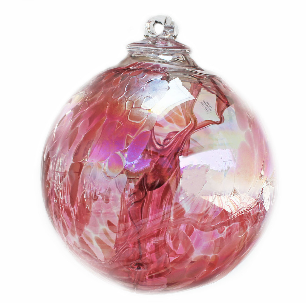 "XXL Witch Ball ""Tea Rose"" Iridized  10 Inch"