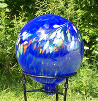 Garden Gazing Ball Circus Blue Iridized
