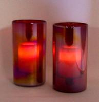 Iridesent Red 2Pc Hurricane Candle Holder