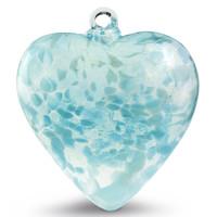 "Large Heart ""Aqua Light"" Iridized"