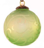 Brass Cap Light Green Etched Kugel