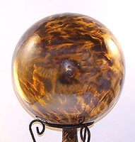 "Glass Gazing Ball ""Sparkle Bronz / Amber"" 12 Inch Iridized Factory 2nd"