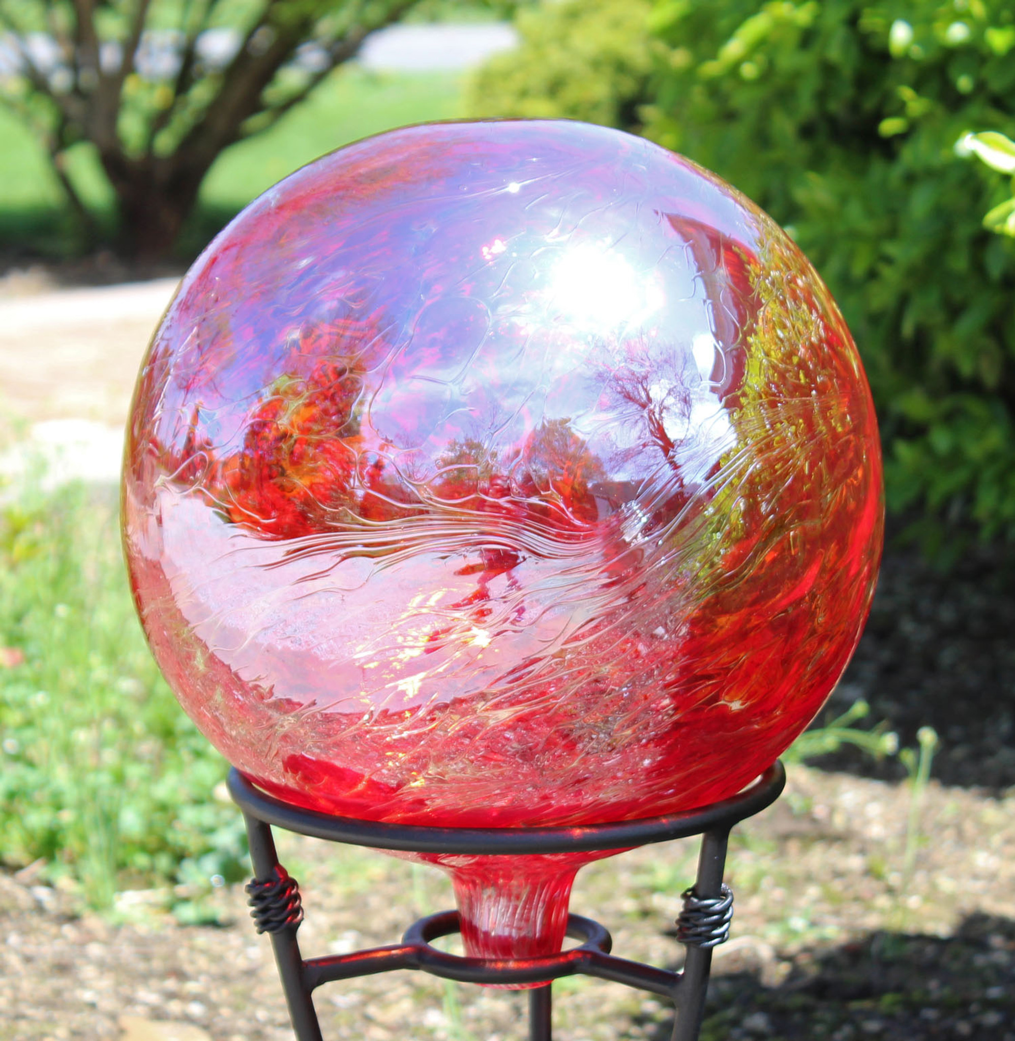 Gazing Ball Garnet Red Iridescent Iron Elegance