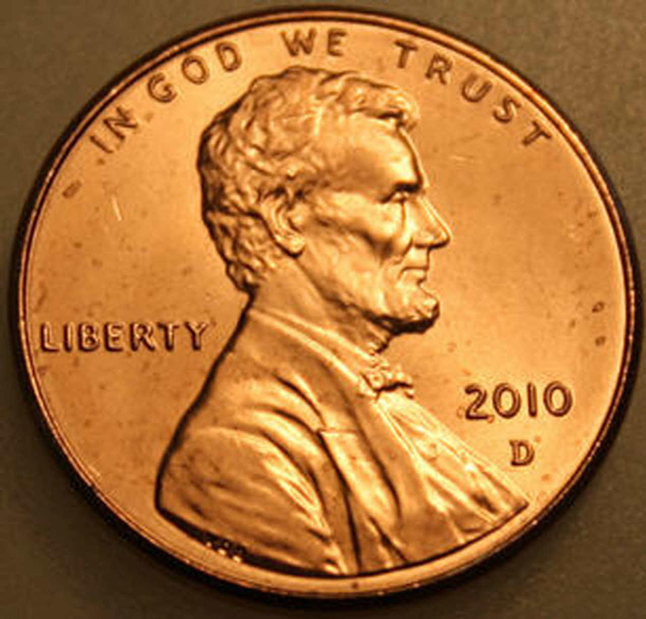 U.S Uncirculated One Cent Coin 2010 D Lincoln Shield Penny