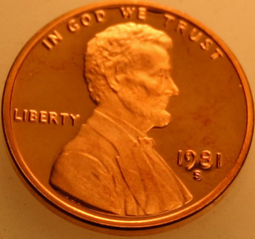 1981-S Lincoln Memorial Cent Proof Red Penny
