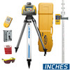 Spectra HV101GC-2 Laser Package includes Tripod Q104025, Laser Receiver HR320, Grade Rod measurements in Incges GR152, Wall Mount M101, Remote RC601 and Large System Carrying Case