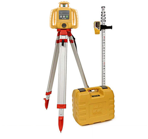 Topcon RL-H5B Self-Leveling Laser PS.DB2 Kit with LS-80L Receiver, Alkaline Batteries, Grade Rod INCHES and Tripod- 1021200-33-K1