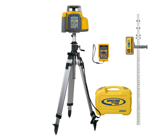 Spectra Precision GL422N-29 Dual Grade Laser Package w/ HL760 Receiver, INCHES-Rod and Elevator Tripod