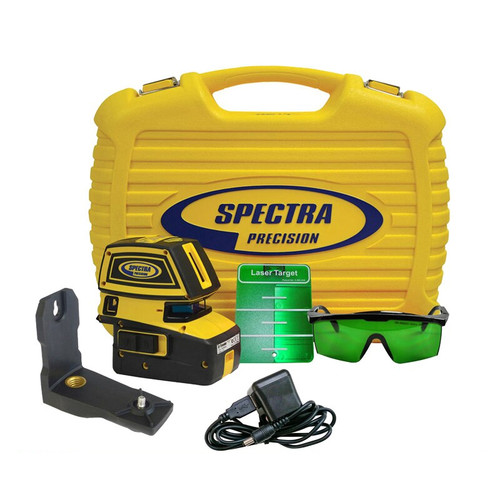 Spectra Precision LT52G-2 Point and Line Green Laser Tool with HR1220 Receiver for extended range