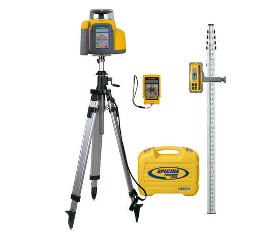 Spectra Precision GL422N-19 Dual Grade Laser Package w/ HL760 Receiver, TENTHS-Rod and Elevator Tripod