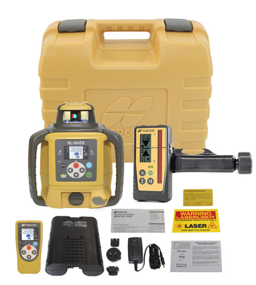 Topcon RL-SV2S Self-Leveling Dual Grade Laser RB Kit with LS-100D Receiver and Rechargeable Batteries- 313990778