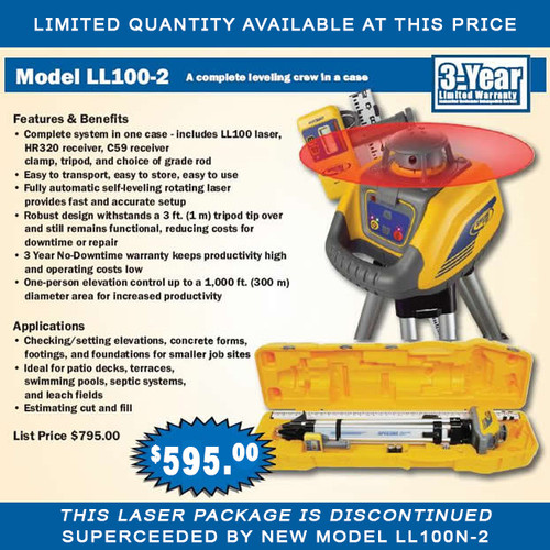SPECTRA Precision LL100-2 Automatic Self-Leveling Laser Kit