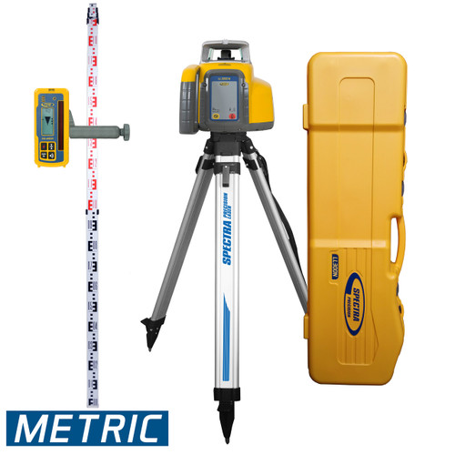 "Spectra Precision LL300N-3 Laser Package includes HL450 Receiver with Clamp C45, GR153 Grade Rod with Measurements in Metric, Aluminum Tripod and ""All in One"" System Carrying Case."