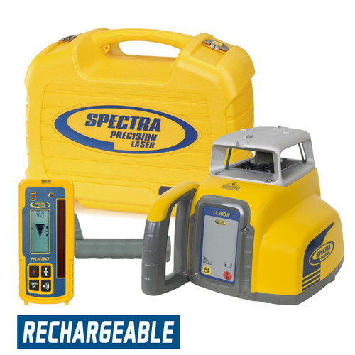 Spectra Precision LL300N-4 Laser Package with HL450 Receiver and Rechargeable Batteries
