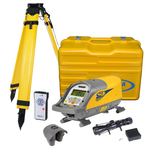 Spectra Precision DG511-2 Over the Top Package includes P23 NiMH Rechargeable Battery Pack, RC501 Remote Control, 1233 Scope, 1161 Heavy Duty Wood Tripod with Screwlock and Carrying Case