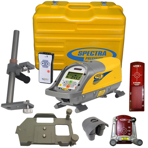 Spectra Precision DG511-6 Laser Kit includes P23 NiMH Rechargeable Battery Pack, RC501 Remote Control, 956 Pipe Target with 2 Plates, 1238 (8-inch) Invert Plate, 1237 Large Pipe Invert (Metric) 1239 Vertical Pole and Carrying Case