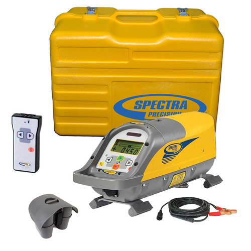 Spectra Precision DG511-9 Pipe Laser comes standard with P20 Alkaline Battery Pack, 4 D-Cell Alkaline Batteries, RC501 Remote Control, 1238 (8-inch) Invert Plate and P21 External Power Supply with Clips