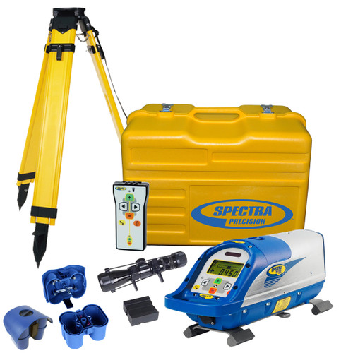 Spectra Precision DG711-2 comes with RC502 Remote Control, 1233 Scope, 1161 Heavy Duty Wood Tripod, P23B NiMH Rechargeable Batteries, P20B Alkaline Battery Pack without Batteries and Carrying Case
