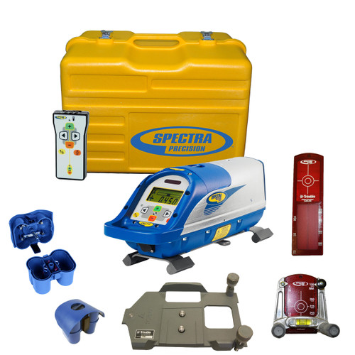 Spectra DG711-3 Pipe Laser Package comes with RC502 Remote Control, 956 Pipe Target and 2 Plates, 1238 (8-inch) Invert Plate, 1230 Large Pipe Invert, P23B NiMH Rechargeable Battery Pack, P20B Alkaline Pack without Batteries, Carrying Case