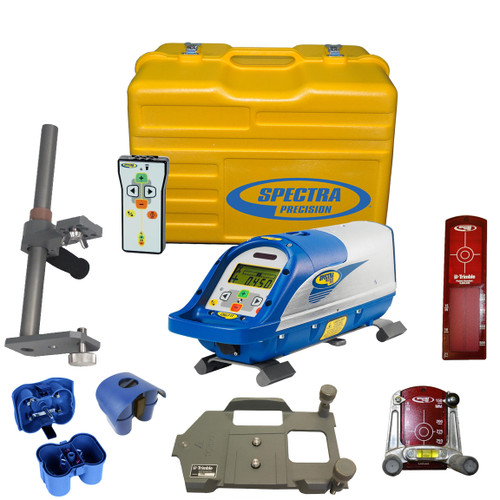 Spectra DG711-5 Pipe Laser Package comes with RC502 Remote Control, 956 Pipe Target and 2 Plates, 1238 (8-inch) Invert Plate, 1230 Large Pipe Invert, 1239 Vertical Pole, P23B NiMH Rechargeable Battery Pack, P20B Alkaline Pack without Batteries, Carrying Case