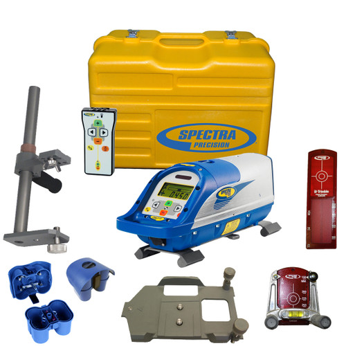 Spectra DG711-6 Pipe Laser Package comes with RC502 Remote Control, 956 Pipe Target and 2 Plates, 1238 (8-inch) Invert Plate, 1237 Large Pipe Invert metric, 1239 Vertical Pole, P23B NiMH Rechargeable Battery Pack, P20B Alkaline Pack without Batteries, Carrying Case