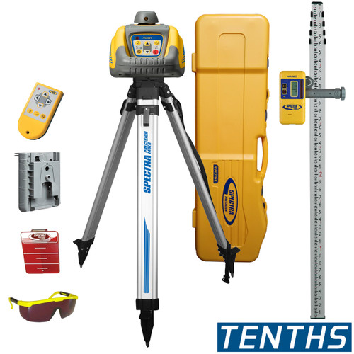 Spectra HV101GC-1 Laser Package includes Q104025 Aluminum Tripod , Laser Receiver HR320, Grade Rod measurements in Tenths GR151, Wall Mount M101, Remote RC601 and Large System Carrying Case