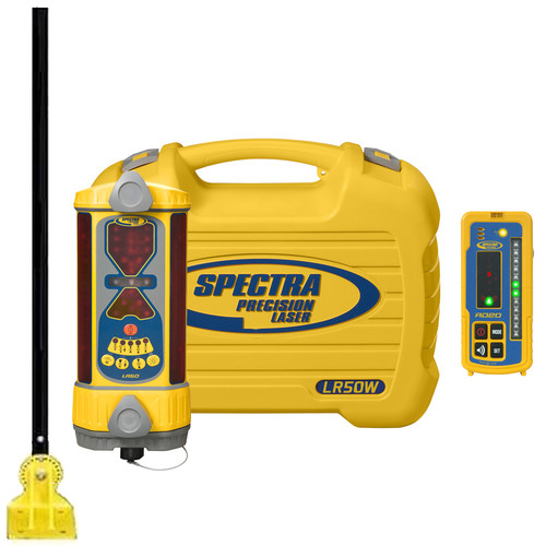 Spectra LR50W-DM includes LR50W Laser Receiver, RD20 Wireless remote Display, DM-20 Bulldozer Bolt-On Mount, NiMH Rechargeable Batteries, Charger and Protective Carrying Case.