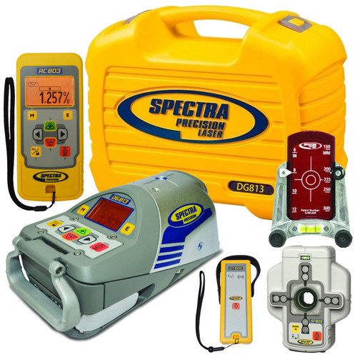 Spectra Precision DG813 Pipe Laser with Dialgrade graphic-display, RC803 Remote and SF803 Spotfinder