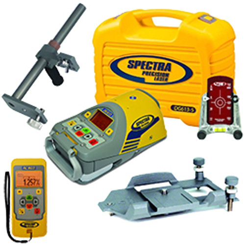 Spectra DG613-5 Dialgrade Pipe Laser with Large Pipe Centering Plate, Vertical Pole, Remote Control, Target and Rechargeable Batteries