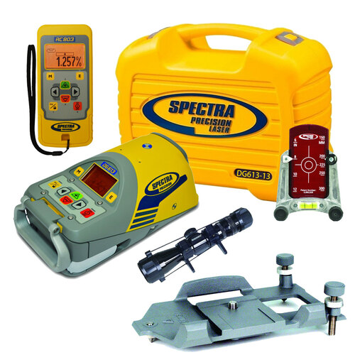 Spectra DG613-13 Dialgrade Pipe Laser OTT Over-the-Top Package with Precision Scope, Power Outlet Charger, Two Rechargeable Batteries