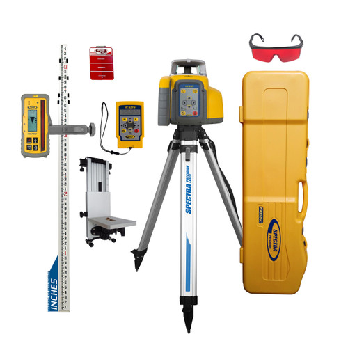 Spectra Precision HV302GC-27 Horiz / Vert - Interior / Exterior RED Laser GC Ultimate Package with Remote, HL760 Receiver, Rod and Tripod