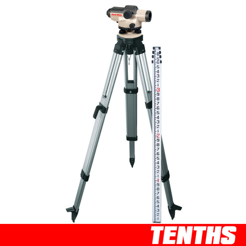 David White AL8-32 Automatic Level Package 32 Power 45-8932-1T TENTHS Rod and Tripod