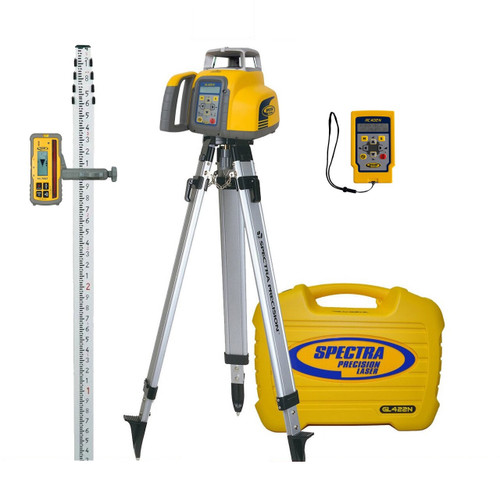 Spectra Precision GL422N-17 Dual Grade Laser Package w/ HL760 Receiver, TENTHS-Rod and Tripod