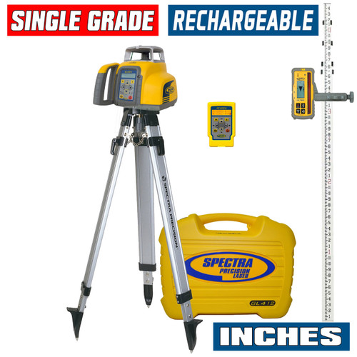 Spectra Precision GL412N-27 Single Grade Laser w/ HL760 Receiver, INCHES-Rod and Tripod