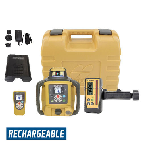 Topcon RL-SV2S Self-Leveling Dual Grade Laser RB Kit with LS-100D Receiver and Rechargeable Batteries- 313990772