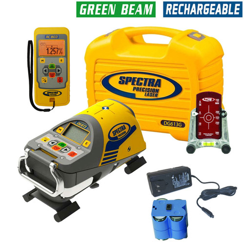 Spectra DG613G Dialgrade Pipe Laser, 8-inch Trivet Plate, Remote Control, Target, Rechargeable Batteries - GREEN BEAM