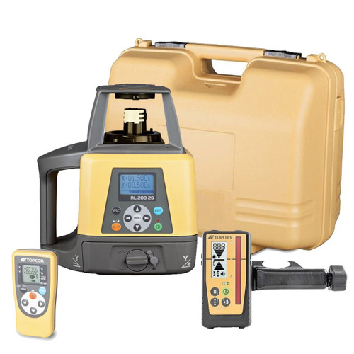 Topcon RL-200 2S Dual Slope Grade Laser Package, w/ LS-100D Receiver (314920782) Rechargeable Batteries and Remote