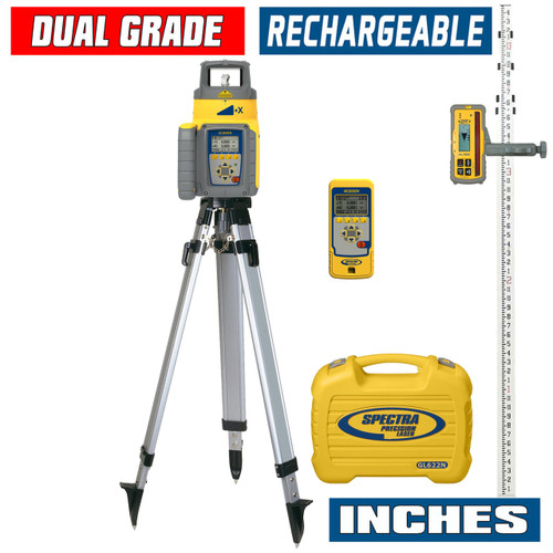 Spectra Precision GL622N-27 Dual Grade Laser INCHES Package with HL760 Receiver, Remote and Tripod