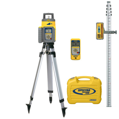 Spectra Precision GL622N-17 Dual Grade Laser TENTHS Package with HL760 Receiver, Remote and Tripod
