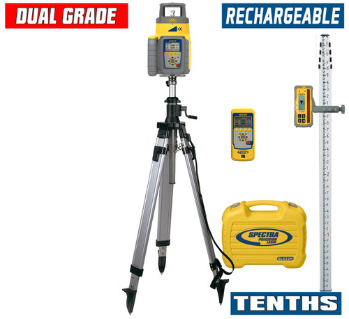 Spectra Precision GL622N-19 Dual Grade Laser TENTHS Package with HL760 Receiver, Remote and Elevator Tripod
