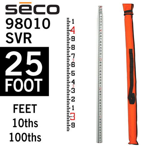 Seco 98010 Grade Rod SRV FiberGlass 25 foot - Measurements in 10ths