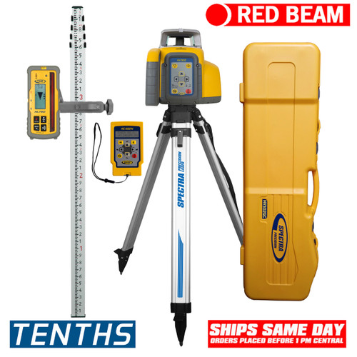 Spectra Precision HV302GC-1 Horiz/Vert - Interior/Exterior RED Beam Laser GC Package with Remote, HL760 Receiver, Rod in Inches and Tripod