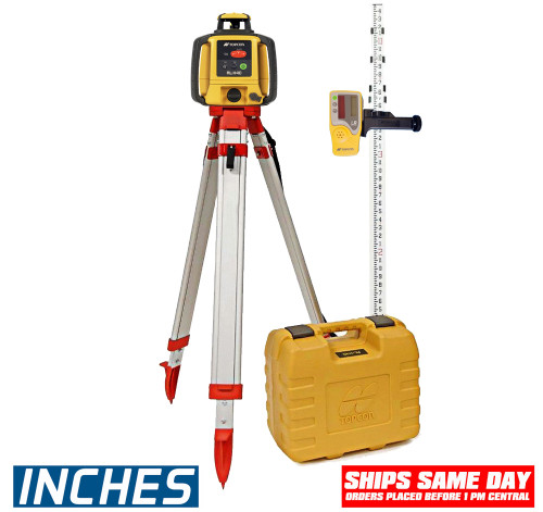 Topcon RL-H5A Self-Leveling Laser PS.DB Kit with LS-80L Receiver,  Alkaline Batteries, Measuring Rod INCHES and Tripod - 1021200-07-K2