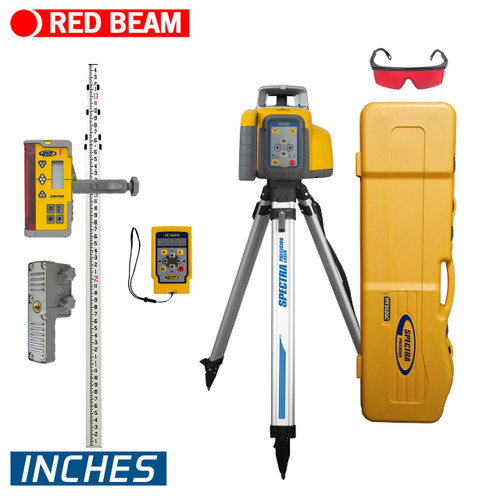 Spectra HV302GC-26 Laser Package includes, CR700 Machine or Rod Mountable Receiver, Remote Control, Measuring Rod / Inches, Tripod and Large Carrying Case