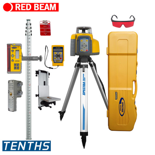 Spectra Precision HV302GC-16 Horiz/Vert - Interior/Exterior RED Beam Laser GC Package with Remote Control, CR700 Receiver, Rod-TENTHS and Tripod