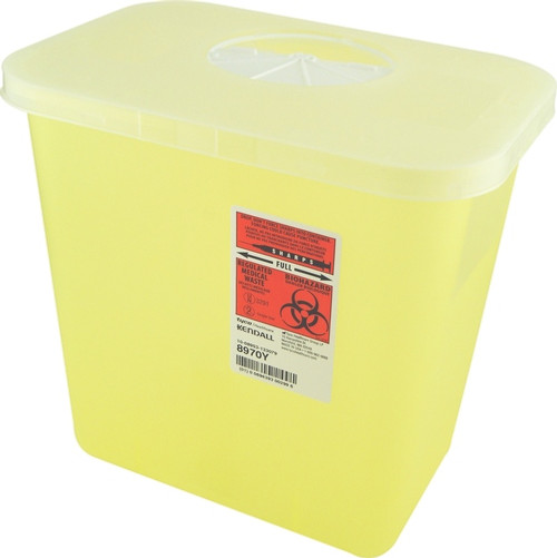 Kendall 8970Y (CA20) MULTI-PURPOSE SHARPS CONTAINER WITH ROTOR OPENING, YELLOW