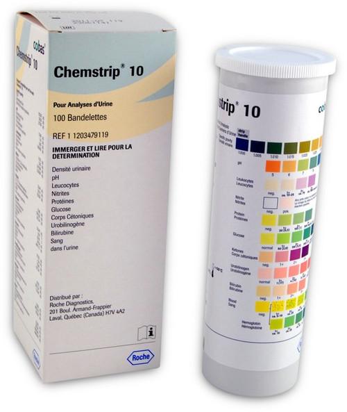 Roche 11203479119 Chemstrip 10 Urine Test Strips 100/Bottle