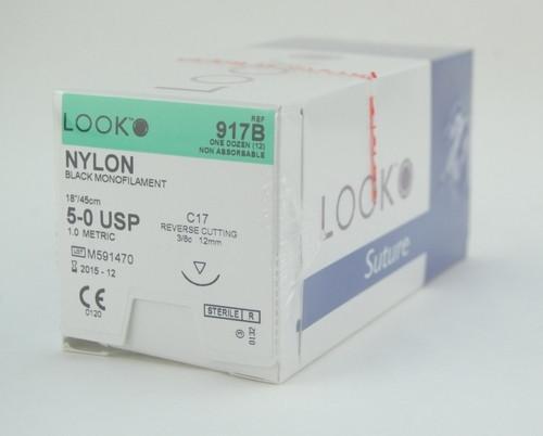 SUTURE NYLON MONO BLK 5-0 18in C17 BX/12 963-917B