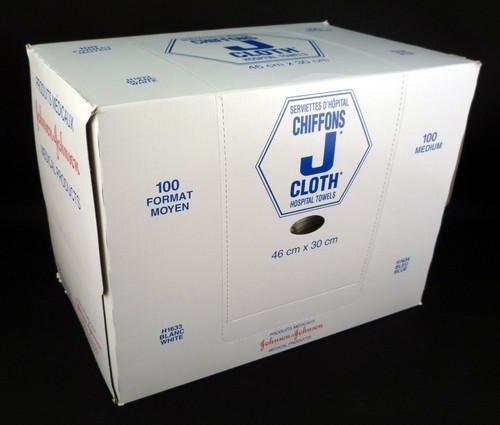 H1633 J-Cloth Med 30 x 46cm, White 100/bx
