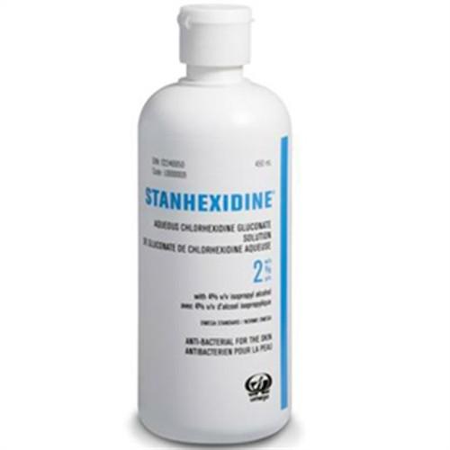 OMEGA LABORATORIES L0000009 STANHEXIDINE AQUEOUS CHLORHEXIDINE GLUCONATE 2% WITH ISOPROPYL ALCOHOL 4% 450 ml bottle
